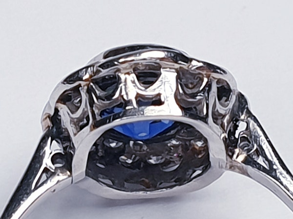 1920's art deco sapphire and diamond engagement ring  DBGEMS - image 4