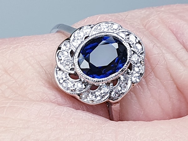 1920's art deco sapphire and diamond engagement ring  DBGEMS - image 2