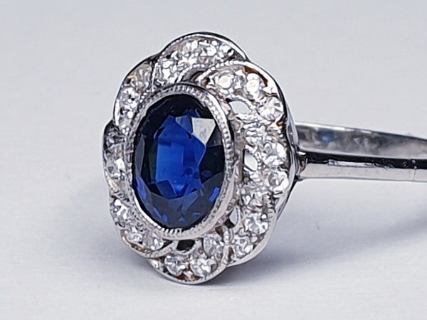 1920's art deco sapphire and diamond engagement ring  DBGEMS - image 6