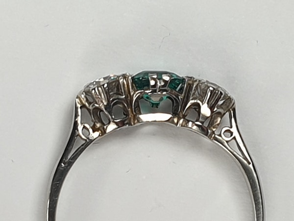 art deco emerald and diamond engagement ring DBGEMS - image 4