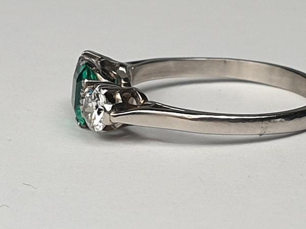 art deco emerald and diamond engagement ring DBGEMS - image 2