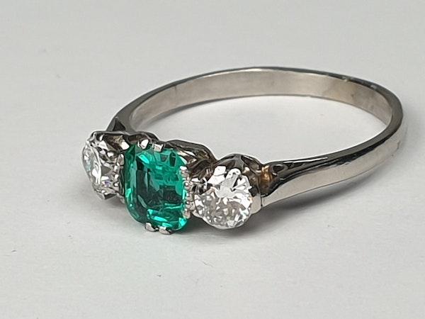 art deco emerald and diamond engagement ring DBGEMS - image 5