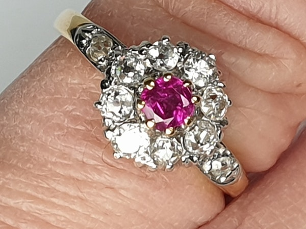 Edwardian Ruby and Diamond Cluster Ring DBGEMS - image 3