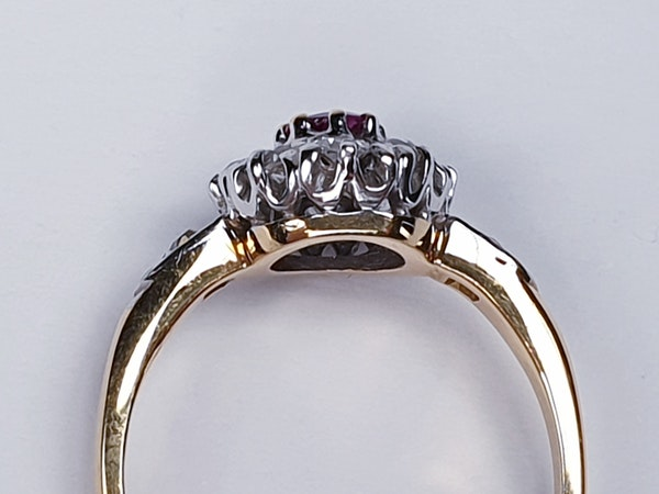 Edwardian Ruby and Diamond Cluster Ring DBGEMS - image 4