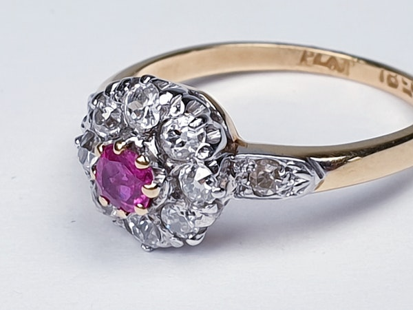 Edwardian Ruby and Diamond Cluster Ring DBGEMS - image 6