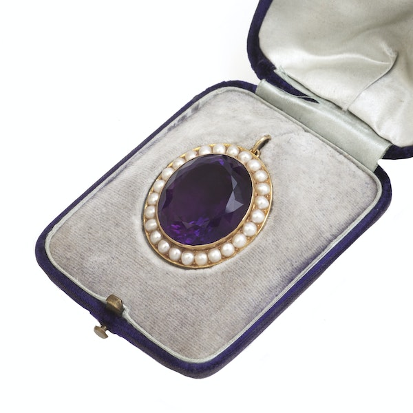 An Amethyst and Pearl Pendant - image 1