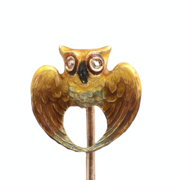 A Gold Owl Tie Pin with Diamond eyes - image 2