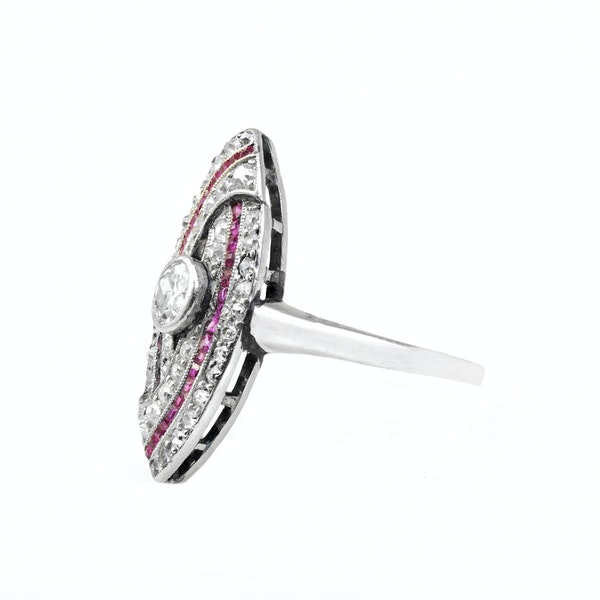 An Art Deco Diamond and Ruby Ring - image 3