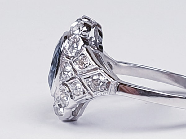 Geometric Sapphire & Diamond Engagement Ring  DBGEMS - image 4
