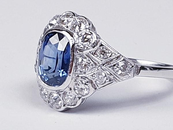 Geometric Sapphire & Diamond Engagement Ring  DBGEMS - image 5