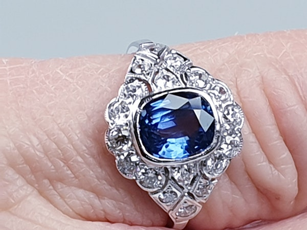 Geometric Sapphire & Diamond Engagement Ring  DBGEMS - image 6