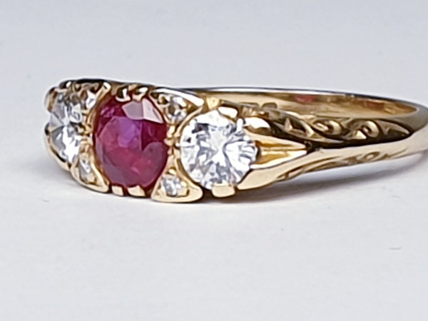 Ruby and Diamond Carved Half Hoop Ring  DBGEMS - image 5