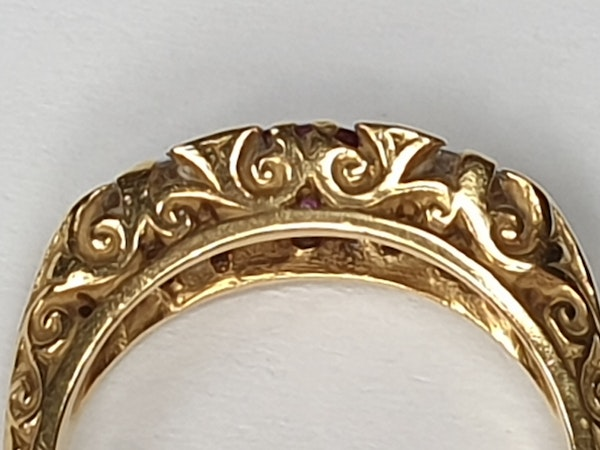 Ruby and Diamond Carved Half Hoop Ring  DBGEMS - image 3