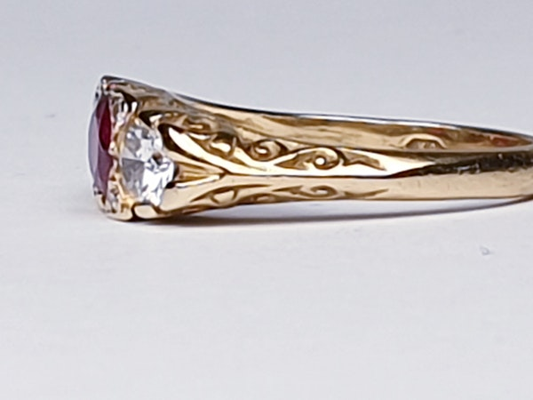 Ruby and Diamond Carved Half Hoop Ring  DBGEMS - image 4