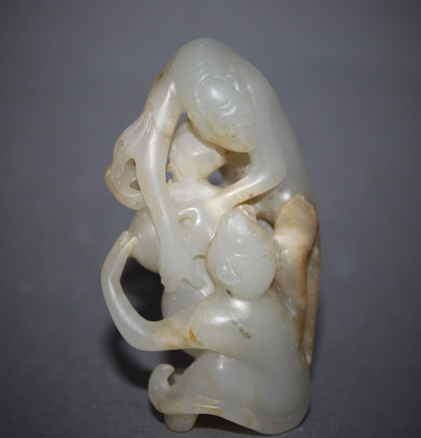 A Chinese jade group of two monkeys. - image 2