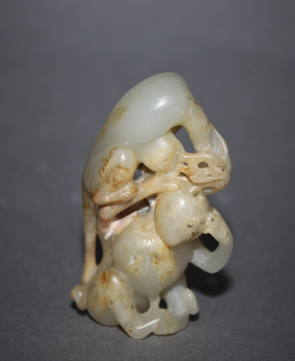 A Chinese jade group of two monkeys. - image 3
