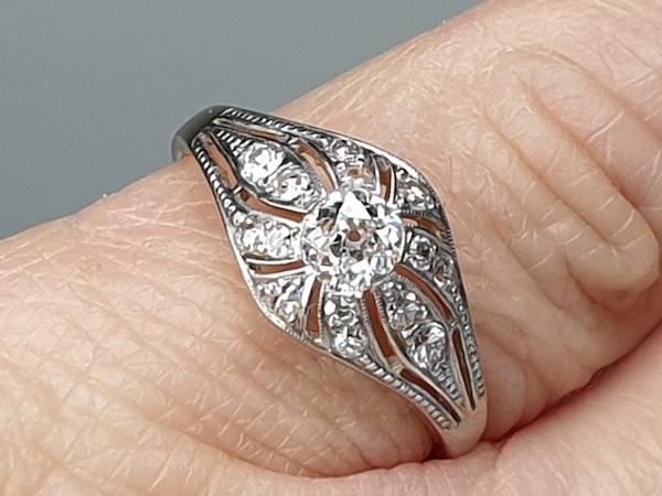 Edwardian Unique Diamond Engagement Ring  DBGEMS - image 5