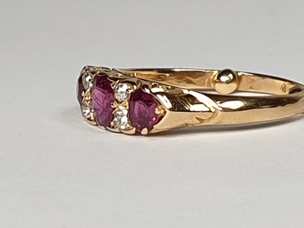 Antique Ruby and Diamond Carved Half Hoop Ring  DBGEMS - image 3