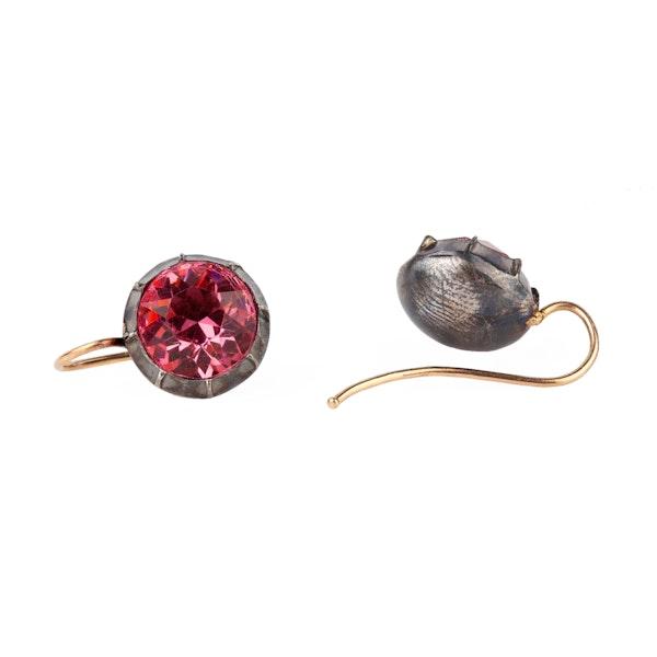 Georgian pink paste silver earrings - image 2