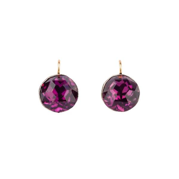 Purple paste silver Georgian earrings - image 2