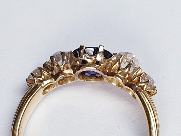 Antique sapphire and diamond engagement ring  DBGEMS - image 6