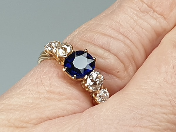Antique sapphire and diamond engagement ring  DBGEMS - image 5