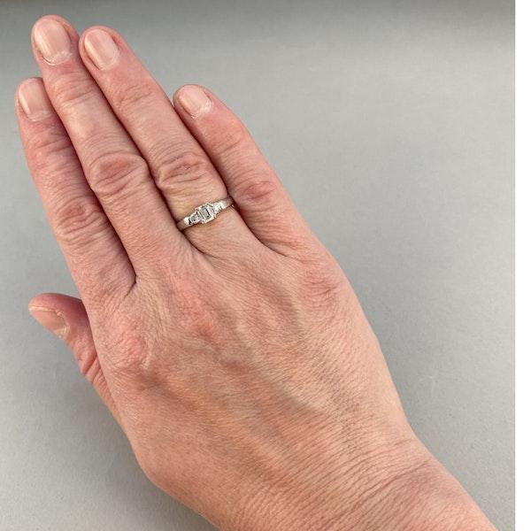 1980's, 18ct White Gold Emerald Cut & Brilliant Cut stone set Ring, SHAPIRO & Co - image 2