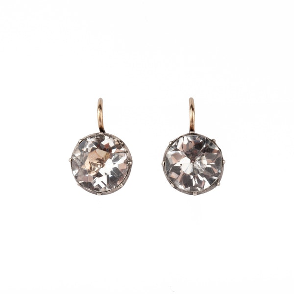 Georgian paste and silver earrings - image 2