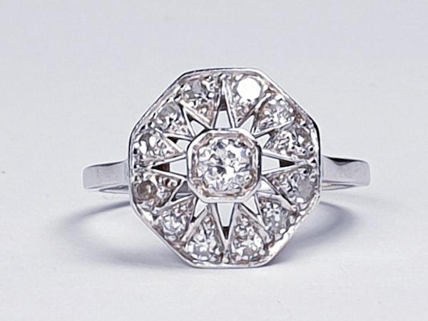 Art Deco Hexagonal Diamond Engagement Ring  DBGEMS - image 1