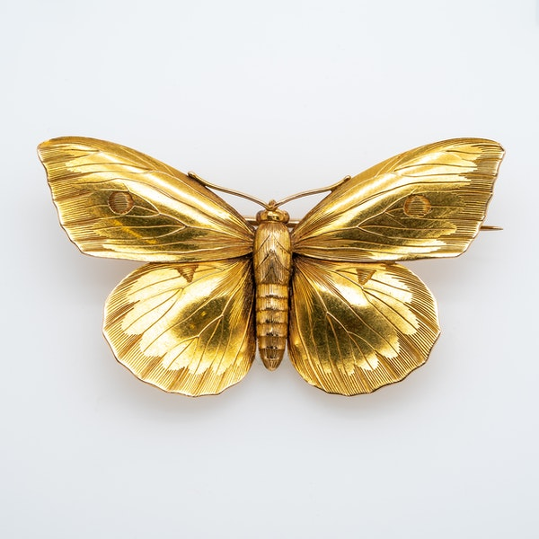 Victorian fine gold butterfly brooch - image 1