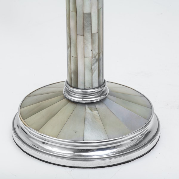 Beautiful Pair of Silver and Mother-of-Pearl Candlesticks - image 2