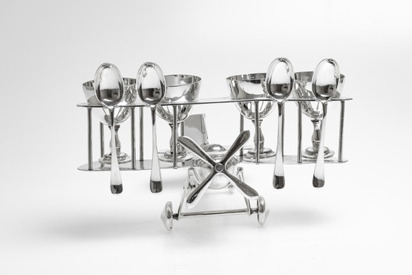 Fabulous Silver Plated Novelty Egg Cup holder in the shape of a biplane - image 2