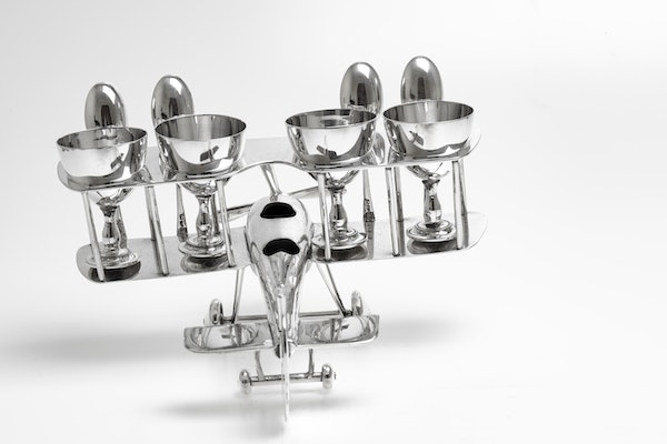 Fabulous Silver Plated Novelty Egg Cup holder in the shape of a biplane - image 3