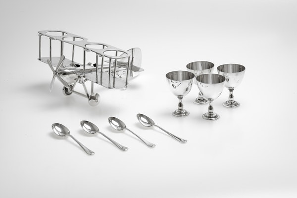 Fabulous Silver Plated Novelty Egg Cup holder in the shape of a biplane - image 5