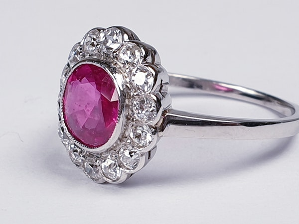 Burmese Ruby and Diamond Cluster Ring  DBGEMS - image 5