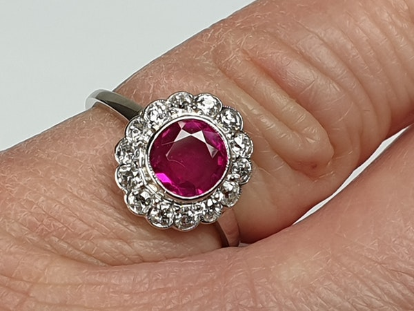 Burmese Ruby and Diamond Cluster Ring  DBGEMS - image 2