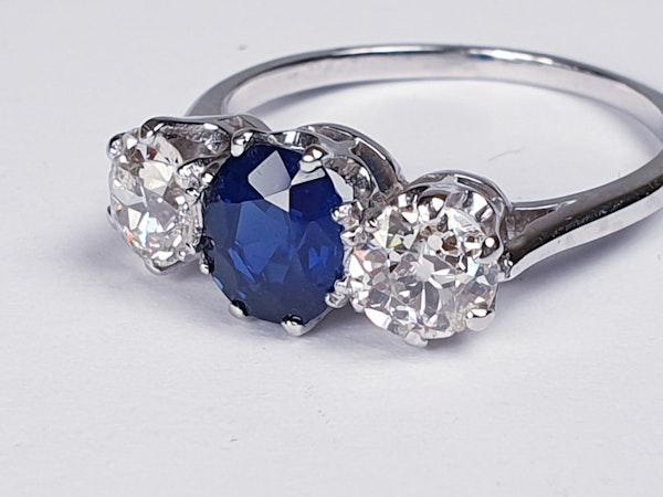 Sapphire and Diamond Three Stone Diamond Engagement Ring  DBGEMS - image 5
