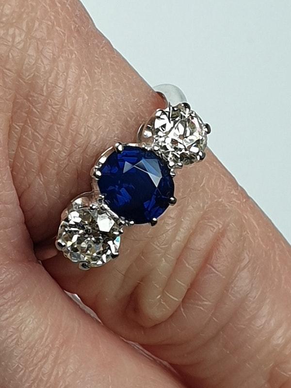 Sapphire and Diamond Three Stone Diamond Engagement Ring  DBGEMS - image 2