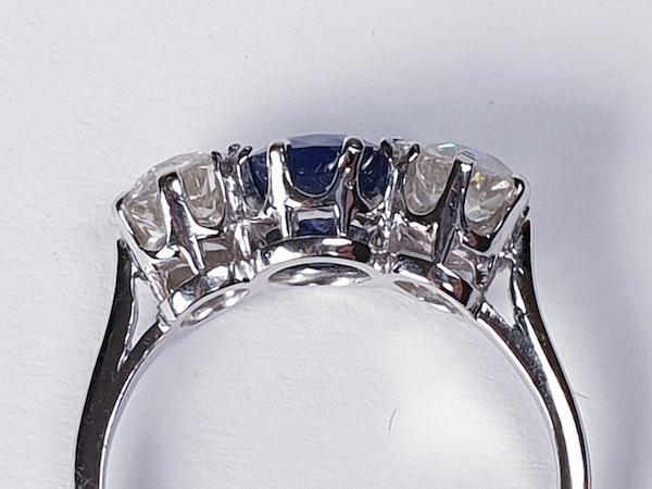 Sapphire and Diamond Three Stone Diamond Engagement Ring  DBGEMS - image 3