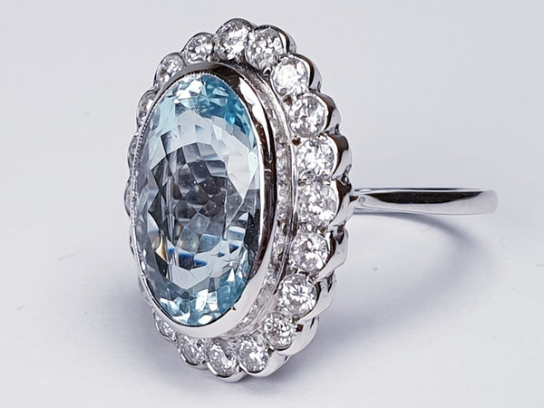 Aquamarine and Diamond Cluster Ring  DBGEMS - image 3