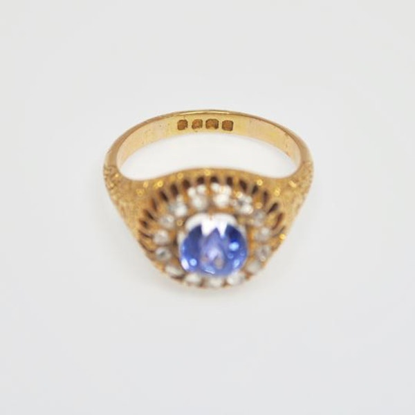 A 1910 Sapphire and Diamond Cluster Ring - image 3