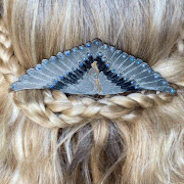 An Art Deco Blue Angel Bird Hair Comb - image 2