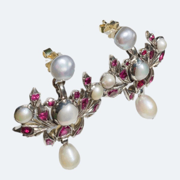 A pair of Ruby and Pearl Drop Earrings - image 2