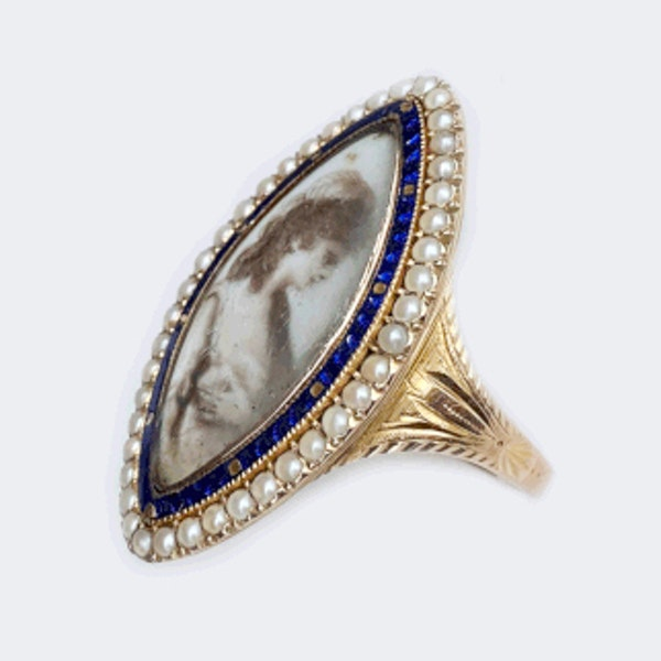 A Georgian Navette Mourning Ring - image 2