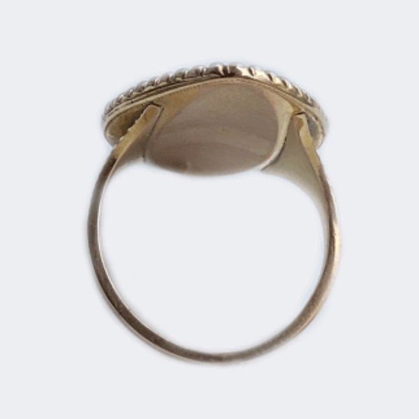 A Georgian Navette Mourning Ring - image 7
