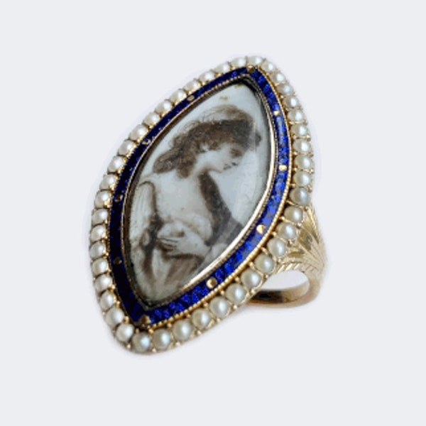 A Georgian Navette Mourning Ring - image 5