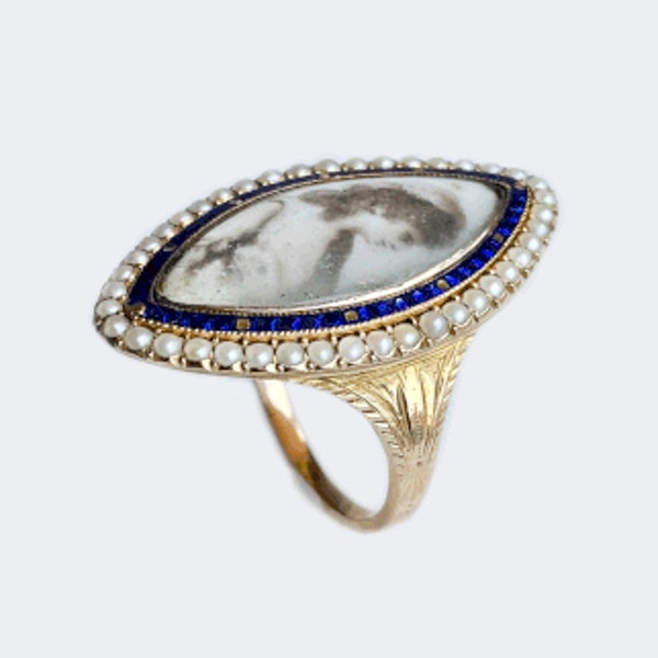 A Georgian Navette Mourning Ring - image 6