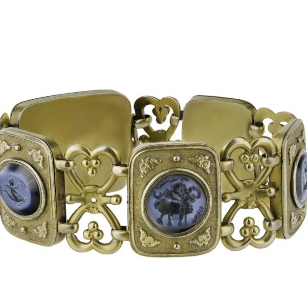 Gold Bracelet set with  Five Intaglios - image 2