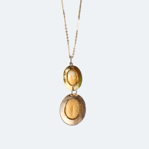 A Gold, Citrine Pendant and Chain - image 2