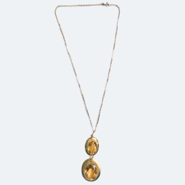 A Gold, Citrine Pendant and Chain - image 3
